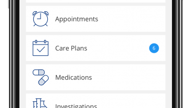 Aero Patient Mobile App Home Screen