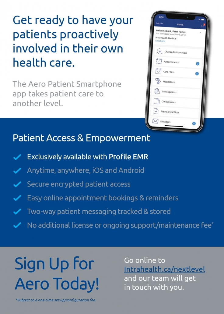 Canadian Medical Doctors magazine insert promoting Aero Patient App